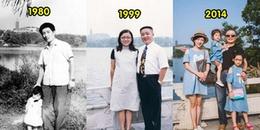Bộ ảnh hai bố con cùng chụp tại 1 địa điểm suốt 30 năm khiến CĐM xúc động khi xem đến cuối