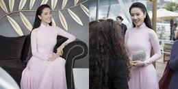 Diện áo dài hồng kín đáo, Nhã Phương đẹp xuất sắc ở LHP Cannes 2018