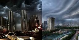 """Hình ảnh đám mây """"vũ bão"""" kéo đến Hà Nội khiến cộng đồng mạng sững sờ"""