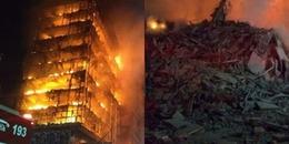 Kinh hãi nhìn tòa cao ốc 26 tầng sụp đổ trong biển lửa