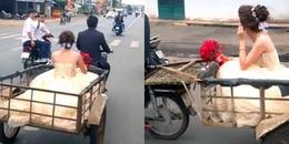 Bật cười với màn rước dâu bằng xe kéo có một không hai tại Đồng Nai