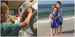 Khoảnh khắc cả thế giới rơi nước mắt: Cậu bé 6 tuổi vuốt má tạm biệt em gái nhỏ mắc bệnh hiểm nghèo