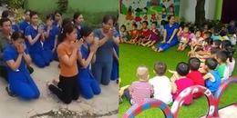 Xót lòng trước cảnh nhiều giáo viên mầm non quỳ để xin không đóng cửa trường tại Nghệ An