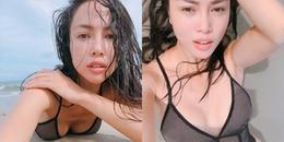 Vũ Ngọc Anh diện bikini xuyên thấu, bất ngờ để lộ điểm nhạy cảm 'nóng mắt'