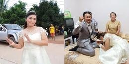 Đám cưới 'lạ đời': Cô dâu mang sính lễ qua nhà trai 'xin cưới' chú rể khiến CĐM thích thú