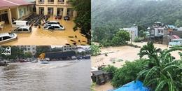 Chùm ảnh: Nhiều tỉnh thành ngập sâu sau cơn mưa lớn, có nơi đã bị lũ cô lập