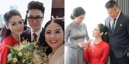 yan.vn - tin sao, ngôi sao - Á hậu Tú Anh diện áo dài đỏ rực, ôm chặt bố mẹ ruột trong đám cưới