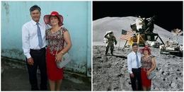 Khi mẹ của mình muốn thay đổi phông nền, cô bạn liền lập tức photoshop cho bố mẹ du lịch khắp 5 châu