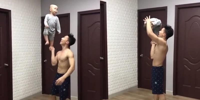 yan.vn - tin sao, ngôi sao - Chưa đầy 2 tuổi nhưng con trai Quốc Nghiệp đã diễn xiếc điêu luyện cùng bố