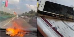 Thay pin 'rởm' cho 'dế cưng', cô gái hoảng hồn khi chiếc điện thoại nổ tung trong xe ô tô