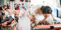CĐM cảm động trước hình ảnh người cha ung thư nằm trên cáng nắm chặt tay con gái tiến vào lễ đường