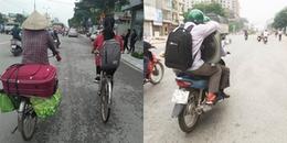 Xúc động hình ảnh hai mẹ con lỉnh kỉnh đồ đạc, đạp xe lên thành phố nhập học