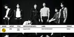 BTS là nhóm nhạc Hàn Quốc đầu tiên và duy nhất hiện tại đạt được chứng nhận danh giá này, tận 3 lần