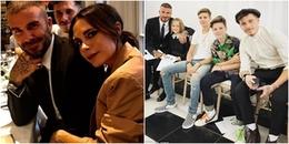 David Beckham bảnh bao đưa 4 nhóc tì dự Tuần lễ thời trang London