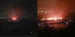 Xanh mặt với cảnh tượng máy bay chở 166 hành khách bốc cháy dữ dội khi vừa hạ cánh
