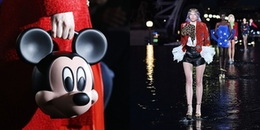 Gucci cho người mẫu cầm đầu chuột Mickey, Saint Laurent 'bắt' người mẫu đi catwalk trên nước
