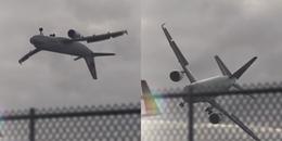 Đứng tim khoảnh khắc máy bay lượn vòng tròn trong không trung vì cơn bão quá mạnh