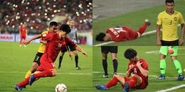 Cận cảnh tình huống cầu thủ Malaysia giật chỏ khiến Công Phượng lăn lộn trong đau đớn!