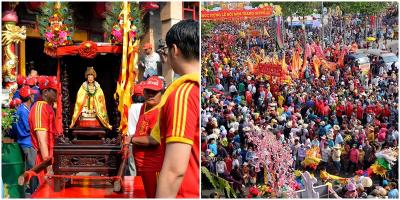 Cận cảnh dòng người đông đúc đi viếng rằm tháng Giêng tại Chùa Bà Thiên Hậu