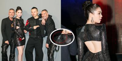 Ngọc Trinh sơ ý để lộ tẩy mặc đồ mượn tham dự Milan Fashion Week 2019