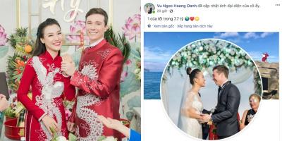 MC Hoàng Oanh khẳng định chủ quyền với chồng Tây soái ca sau lễ cưới
