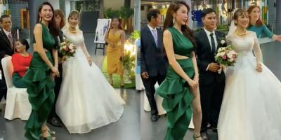 Đang đi diễn thấy đám cưới, Thủy Tiên liền nán chân để chúc phúc
