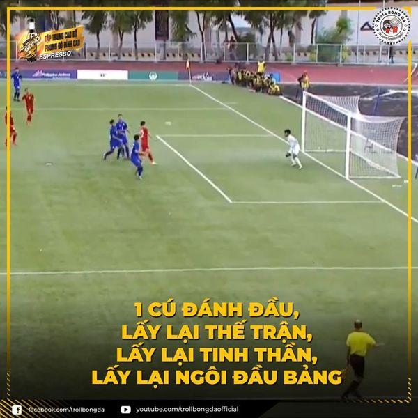 Tiến Linh đã giúp U22 Việt Nam giành chiếc vé đi tiếp vào bán kết. (Ảnh: Troll bóng đá)