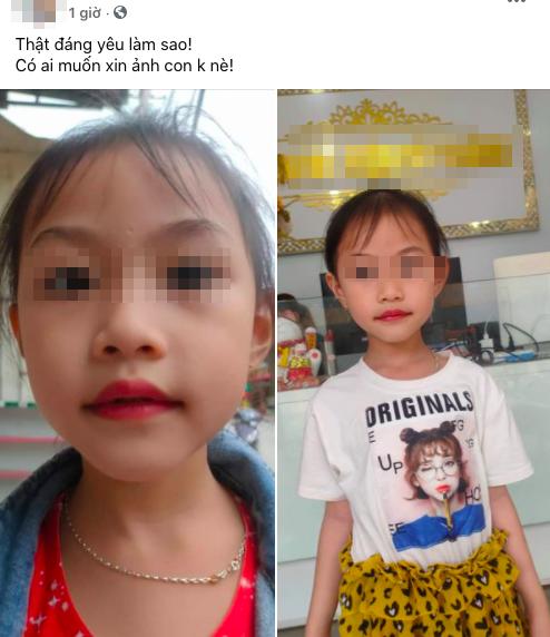 Mọi quá trình làm môi của cô bé đều được đăng tải lên mạng xã hội. (Ảnh: Chụp màn hình)