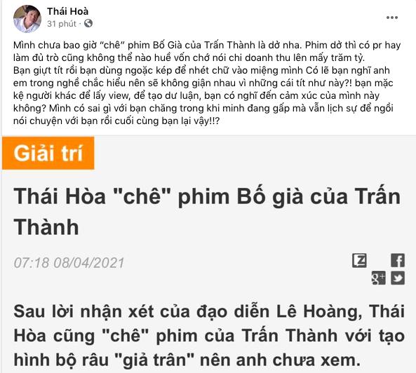 """Dòng chia sẻ nhằm đính chính của Thái Hòakhi bị khán giả """"ném đá"""" về phát ngôn chê phim của Trấn Thành. (Ảnh: Chụp màn hình)"""