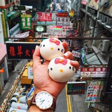 Bánh bao hình Hello Kitty cực đáng yêu ở Hong Kong.