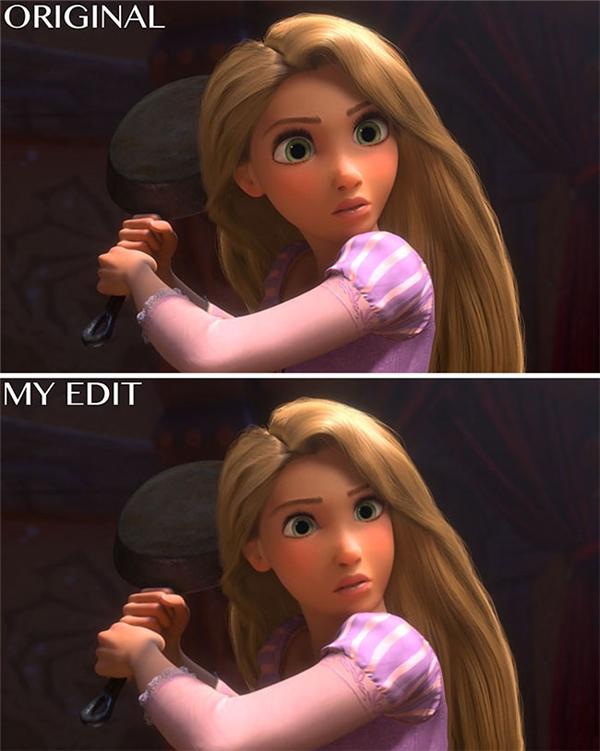 """Tạm biệt mắt to tròn, tạm biệtcằm V-line. Phải chăng đây chỉlà """"cậu em thất lạc"""" nào đấy đang cosplay cô chị Rapunzel thôi?"""