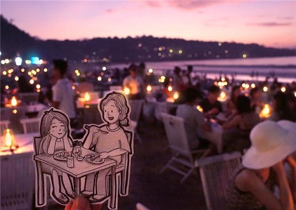 Bữa tối dưới ánh nến trên bãi biển Jimbaran