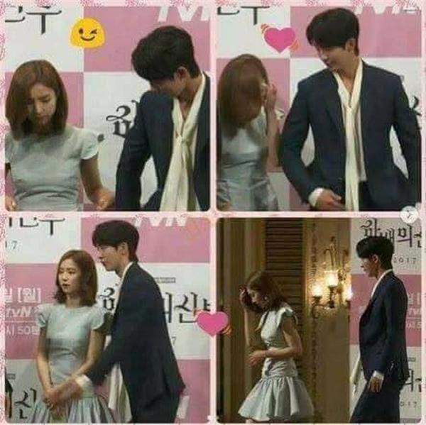 Nếu ngắm nhìn 2 bức ảnh này, chúng ta hoàn toàn có thể nhận ra sự khác biệt rõ ràng: Nam Joo Hyuk đợi Shin Se Kyung đi xuống trước và luôn ở phía sau để đỡ cô...