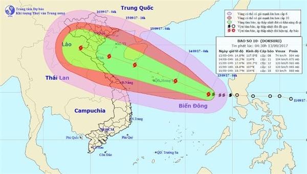 Vị trí và hướng di chuyển của bão số 10. Ảnh Trung tâm Dự báo Khí tượng thủy văn Trung ương.