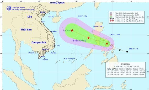 Trong 24 giờ tới áp thấp nhiệt đới di chuyển theo hướng Tây Tây Bắc, mỗi giờ đi được khoảng 20km và có khả năng mạnh lên thành bão. (ảnh: Trung tâm dự báo KTTVTW)