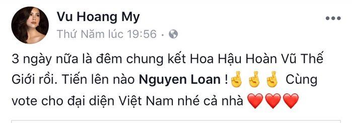 Á hậu Thùy Dung cũng kêu gọi mọi người ủng hộ cho cô giáo dạy cawalk.  Á hậu Hoàng My.