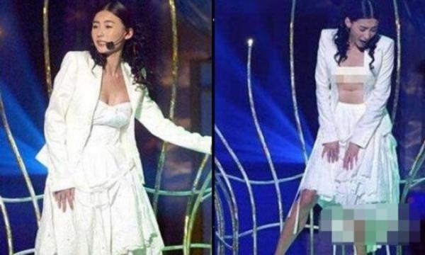 Trương Bá Chi và chiếc váy phản chủ ngay trên sân khấu. Nó đã trôi tuột xuống dưới quá nhanhkhiến nữ ca sĩ không phản ứng kịp thời.