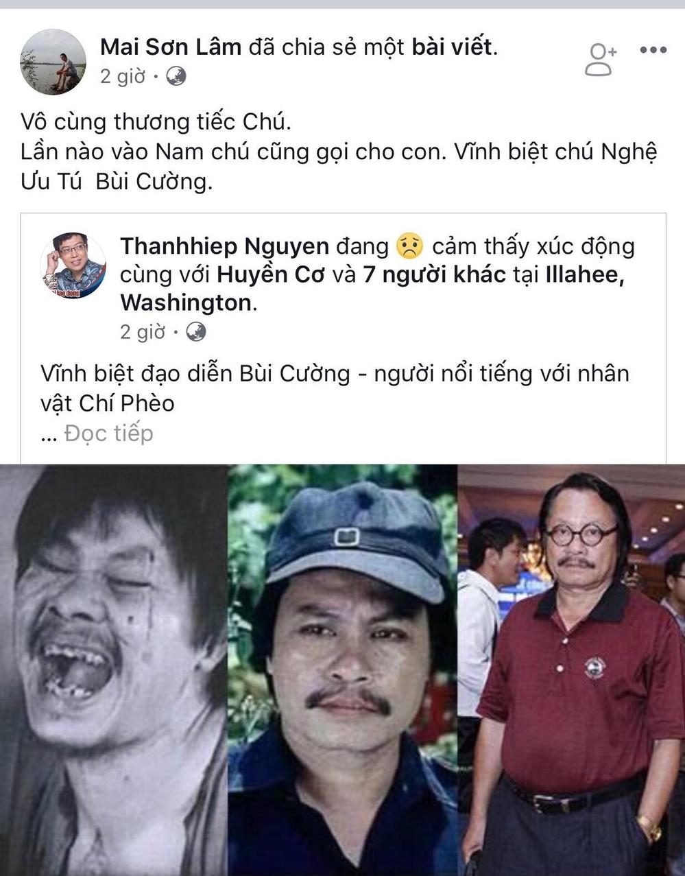 Diễn viên Mai Sơn Lâm cũng tiếc thương trước sự ra đời của NSƯT Bùi Cường. - Tin sao Viet - Tin tuc sao Viet - Scandal sao Viet - Tin tuc cua Sao - Tin cua Sao