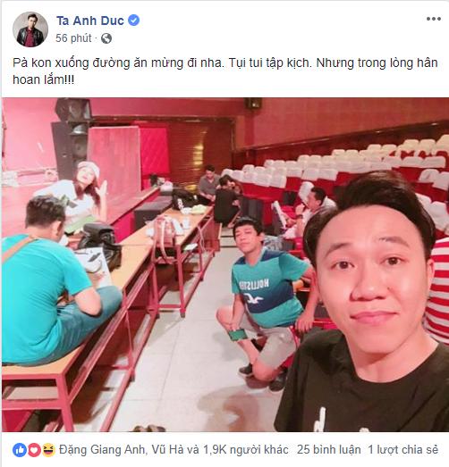 Diễn viên hài Anh Đức cho biết dù anh đang tập kịch nhưng vẫn theo dõi ủng hộ và chúc mừng đội tuyển Việt Nam vì quá xuất sắc. - Tin sao Viet - Tin tuc sao Viet - Scandal sao Viet - Tin tuc cua Sao - Tin cua Sao