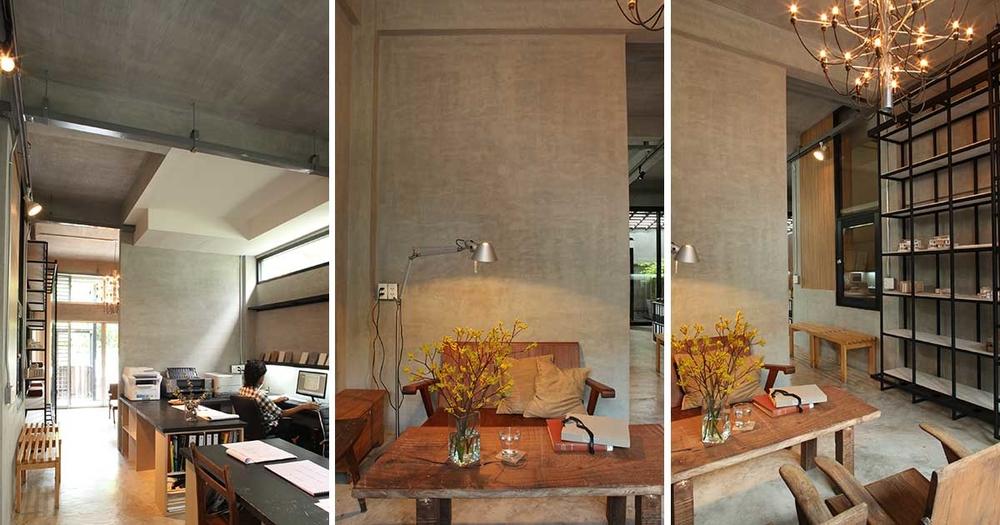 Khu vực tầng trệt được sử dụng làmvăn phòng tại nhà. Thiết kế văn phòng nhỏ gọn, hiện đại gồm phòng làm việc và phòng tiếp khách
