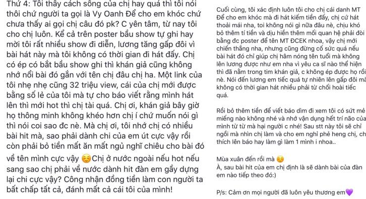 """Vy Oanh bày tỏ sự bức xúc khi bị Minh Tuyết """"cướp"""" hit."""