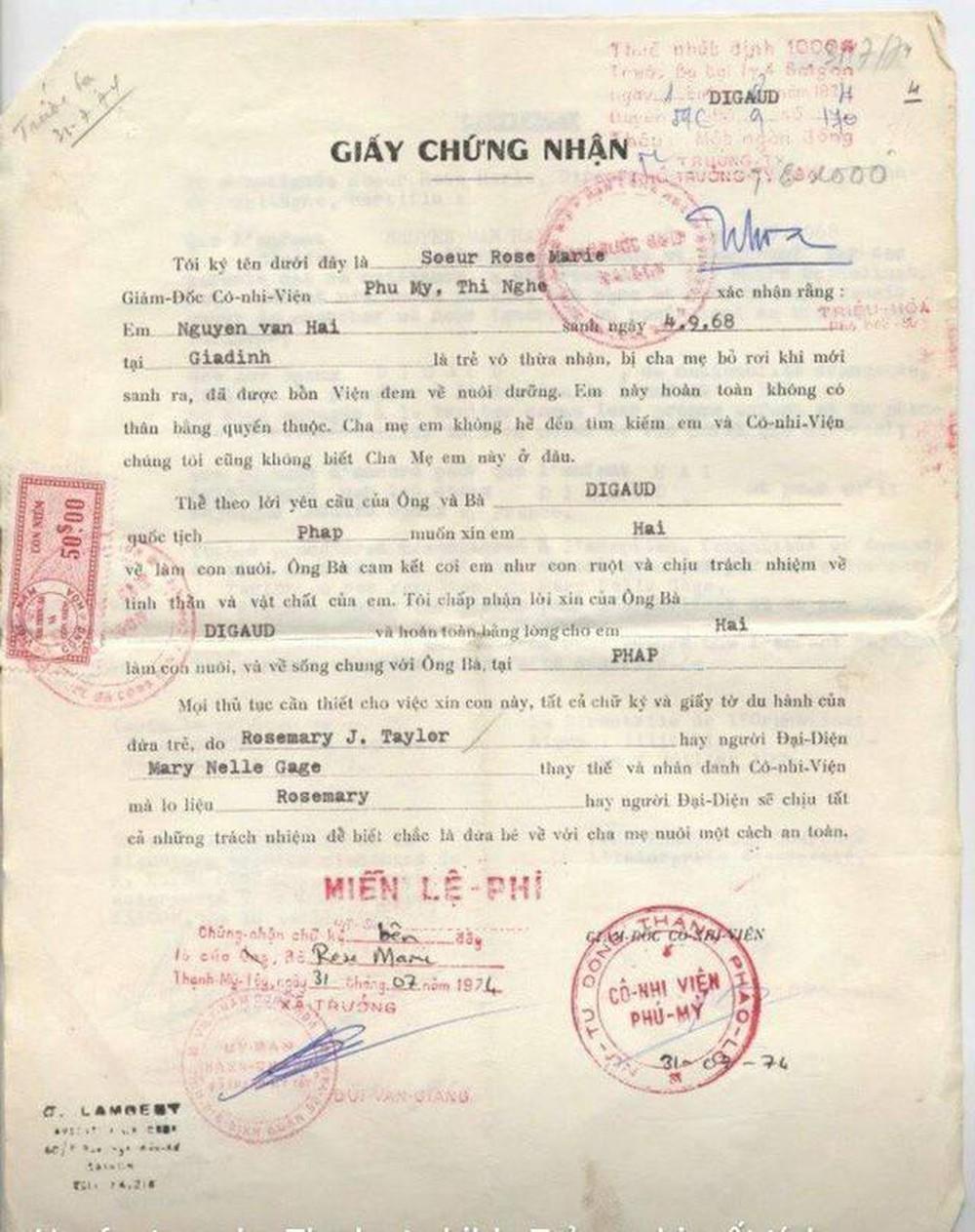Giầy chứng nhận Nguyễn Văn Hải được ông bà Digaud nhận nuôi.