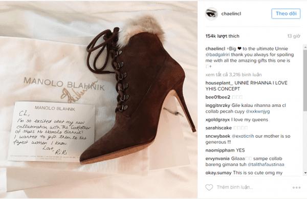 CL nhận quà xa xỉ từ Rihanna. (Ảnh: Chụp màn hình)