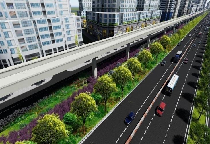 Hình ảnh phối cảnh của tuyến Metro số 1 sau khi được hoàn thiện sẽ đươc trồng thêm khá nhiều cây xanh. (Ảnh: Vietnamnet)