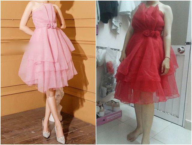 """Đặt mua 1 chiếc váy hồng công chúa nhưng lại nhận được 1 chiếc váy đỏ """"vải màn"""" ạ."""