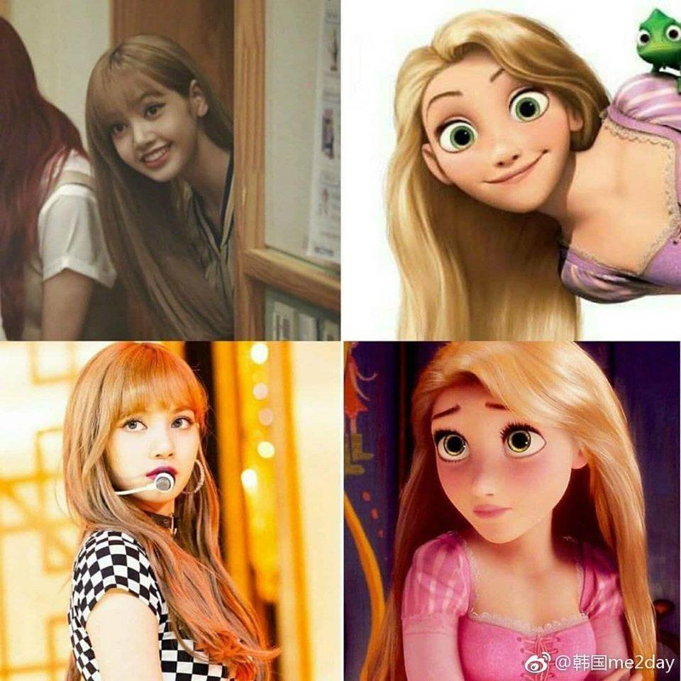 """Thành viên của BLACKPINK cònđược ví với """"công chúa tóc mây"""" Rapunzel nữa.Ảnh: Pinterest"""