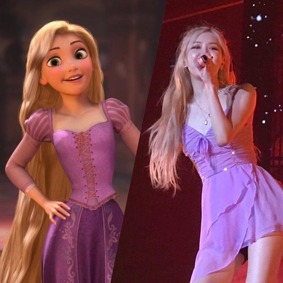Rosé tóc vàng, váy tím mang dáng dấp của nàng công chúa tóc mâyRapunzel - Ảnh:RoseGoldvn - BR1VF.
