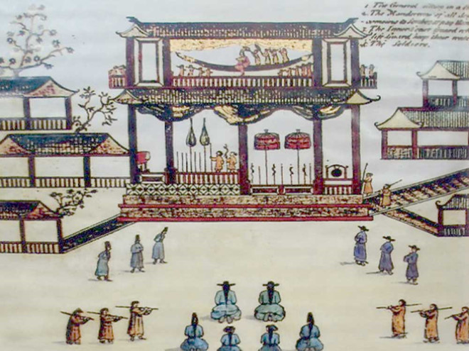 Khung cảnh trong phủ Chúa Trịnh xưa do tác giả Samuel Baron vẽ. (Ảnh: Báo Thanh Niên)