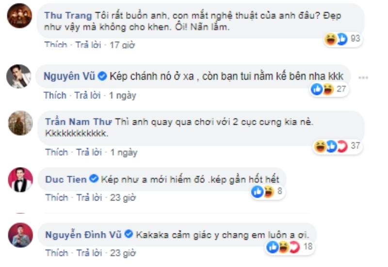Thu Trang cùng các nghệ sĩ bình luận bên dưới bài viết của Tiến Luật.(Ảnh: chụp màn hình)