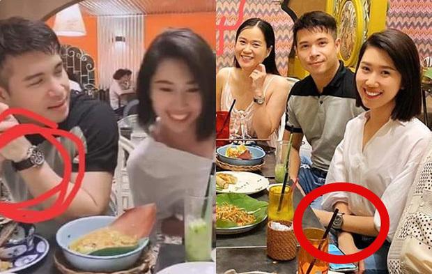 Trương Thế Vinh - Thúy Ngân đi ăn chung cũng ngồi cạnh nhau, dùng phụ kiện đôi. (Ảnh: FBNV) - Tin sao Viet - Tin tuc sao Viet - Scandal sao Viet - Tin tuc cua Sao - Tin cua Sao